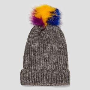 Zara Beanie Ribbed Faux Fur Pom Pom hat